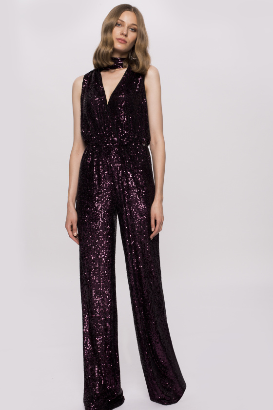 Sequinned V-neck jumpsuit
