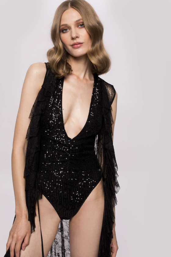 V-neck sequins swimsuit