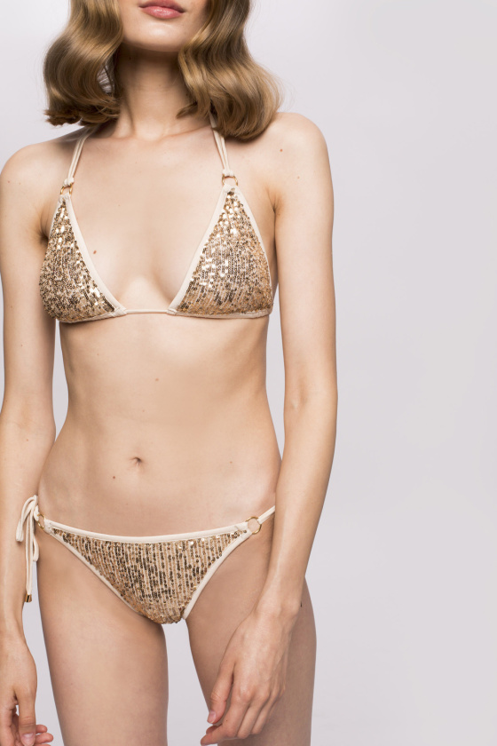 Sequinned swimsuit with metallic shade