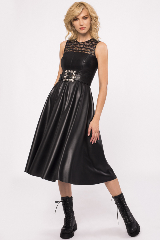Lace insert dress with belt