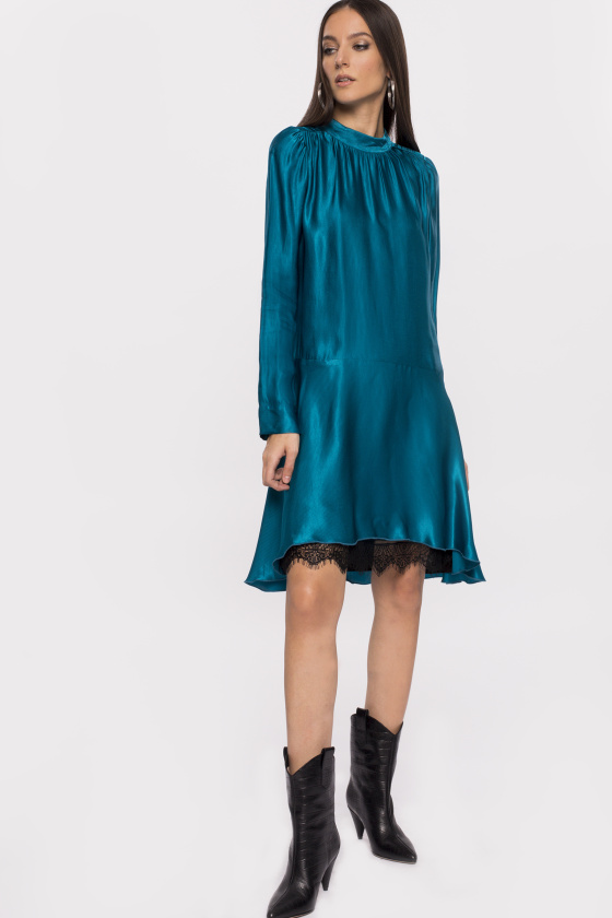 Lace insert asymmetrical viscose dress