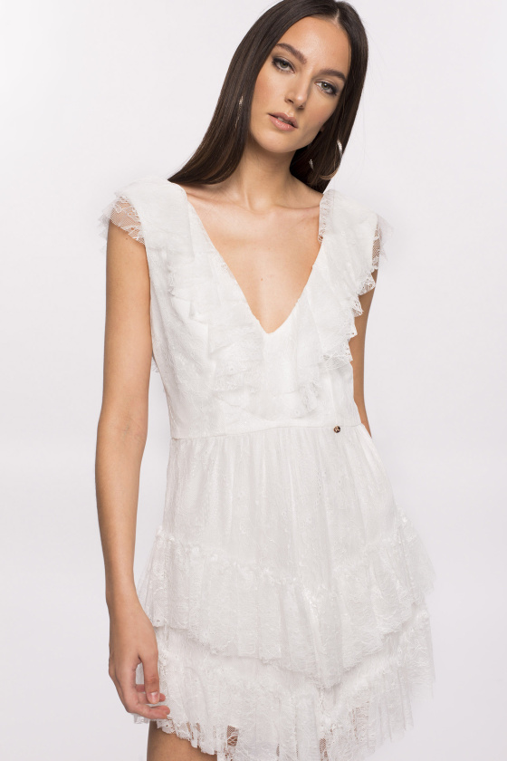 Lace mini dress with ruffles