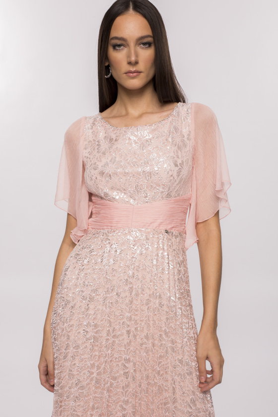 Pleated metalic lace dress