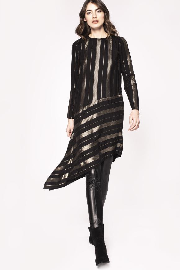 Golden thread insert asymmetrical dress