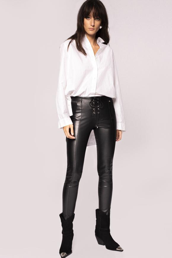 Pantaloni din piele ecologica cu detaliu lateral