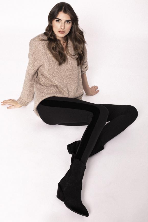 Pantaloni cu insertie din catifea