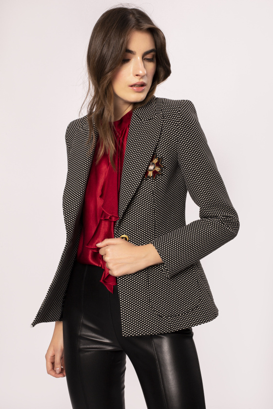 Chest detail fitted suit jacket