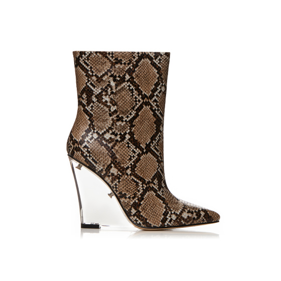 Transparent heel natural croc print leather boots