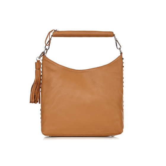 Studded natural leather bag