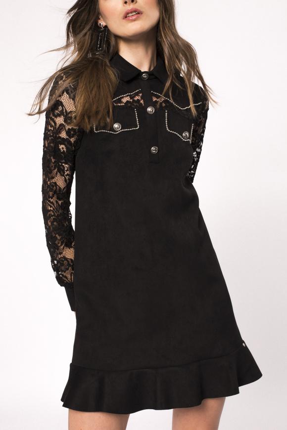 Rochie aspect piele de căprioară cu dantelă