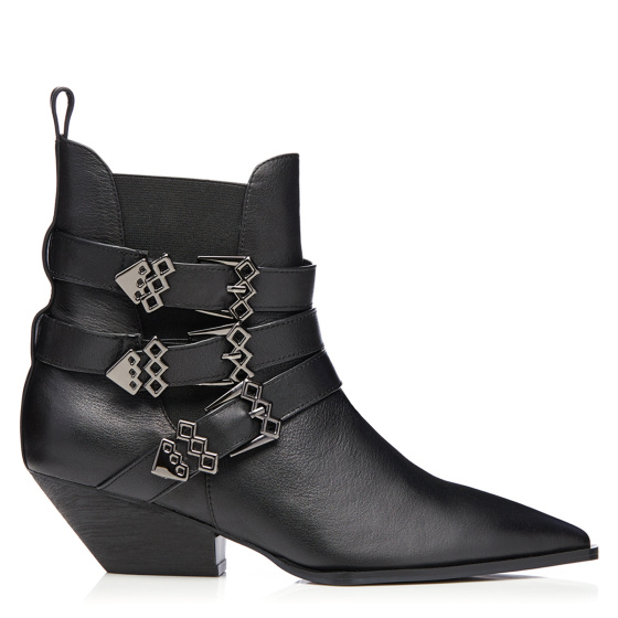 Metallic buckle natural leather boots
