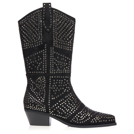 Studded natural leather western boots
