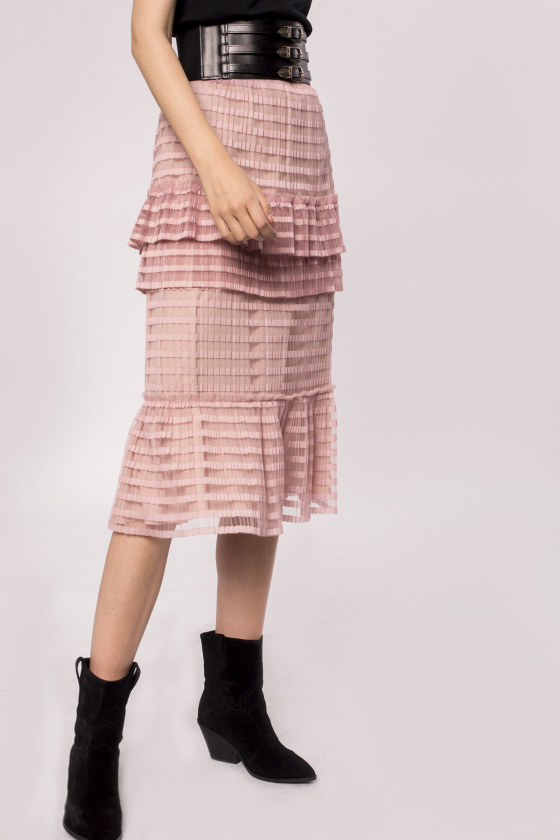 Ruffled pleated tulle skirt