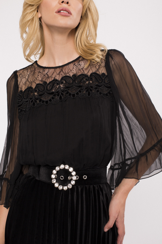 Lace insert silk top