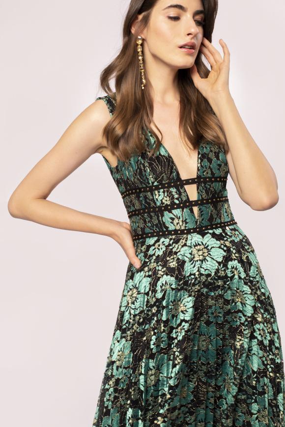 Studded waistband lace dress
