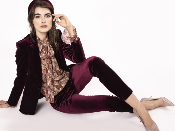 Velvet straight trousers
