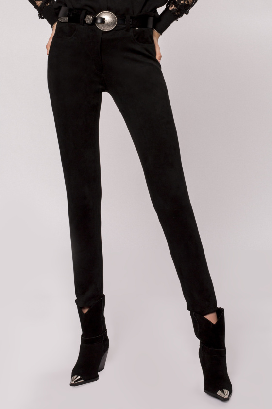 Suede faux leather trousers