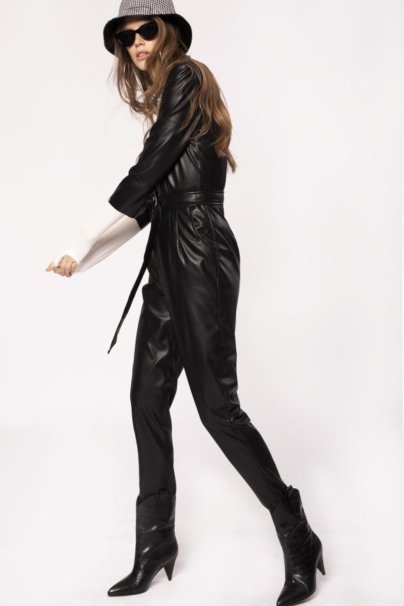 Faux leather jumpsuit with belt