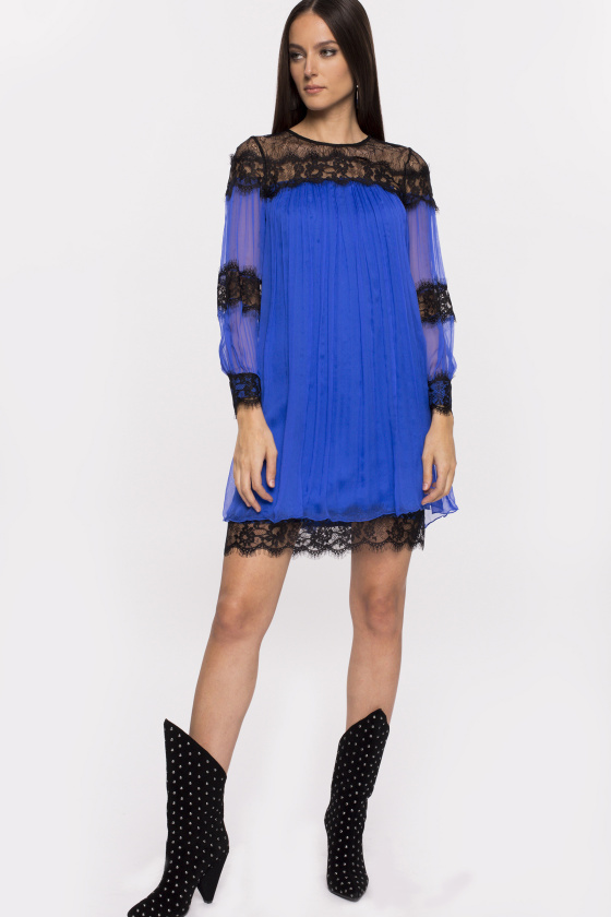 Lace insert silk dress
