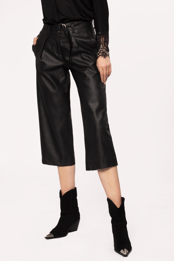 Leather effect 3/4 trousers