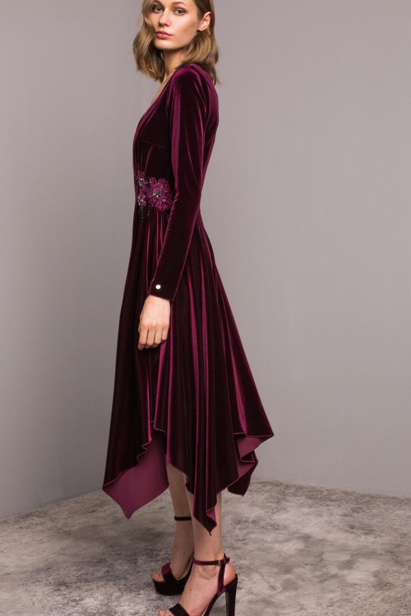 Waist detail velvet dress