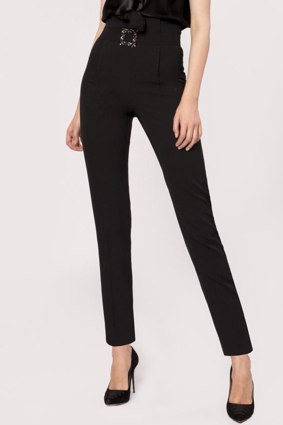 Pantaloni cu talie inalta si detaliu tip bijuterie