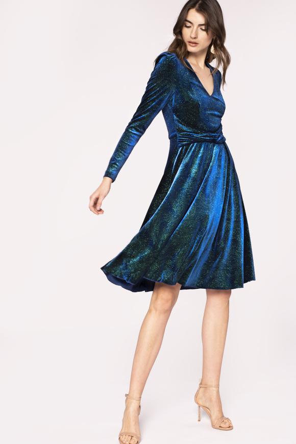 Waist detail shiny finish velvet dress