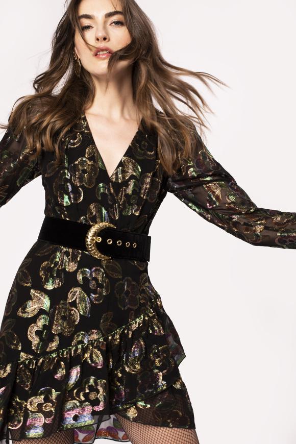 Asymmetrical design floral embroidery dress