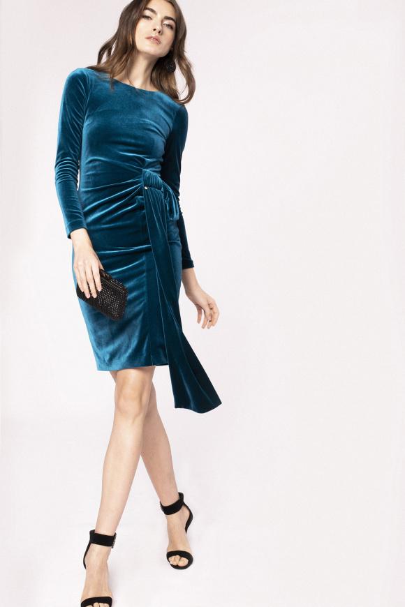Oversized waist detail velvet dress
