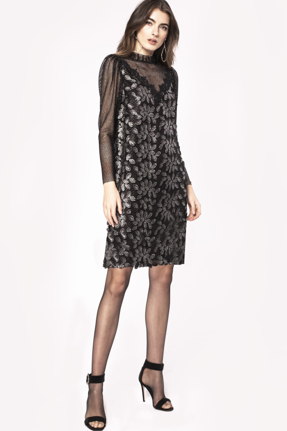 Floral embroidery transparent insert dress