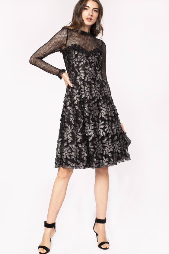 Lace insert floral embroidery dress
