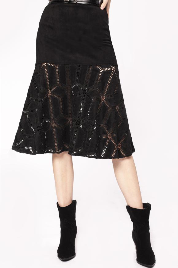 Transparent insert embroidered skirt