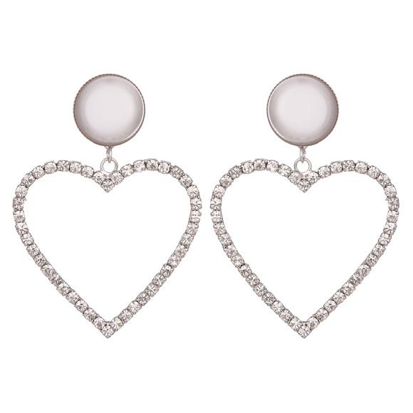 Cercei inima cu cristale si perle