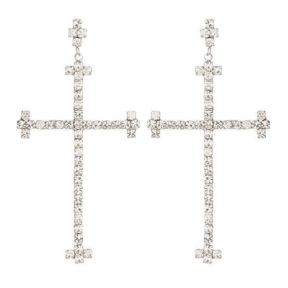 Cercei cruce cu cristale