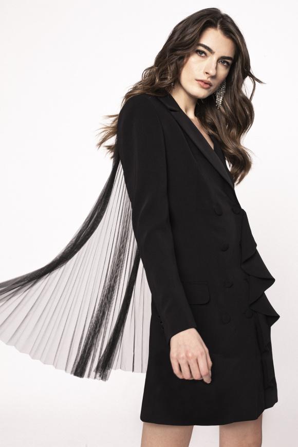 Side ruffle suit dress