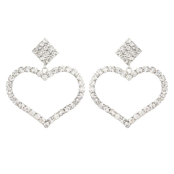 Cercei cu cristale in forma de inima