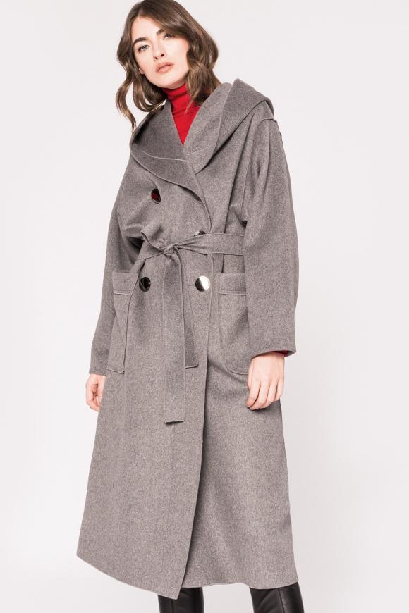 Palton din lana cu gluga si cordon