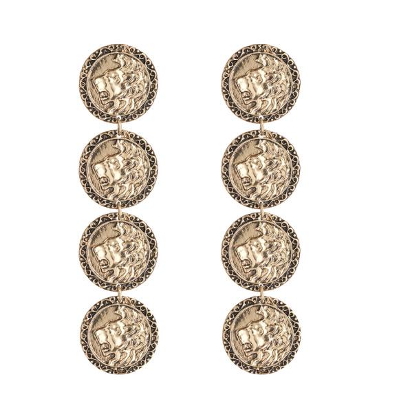 Cercei metalici tip moneda