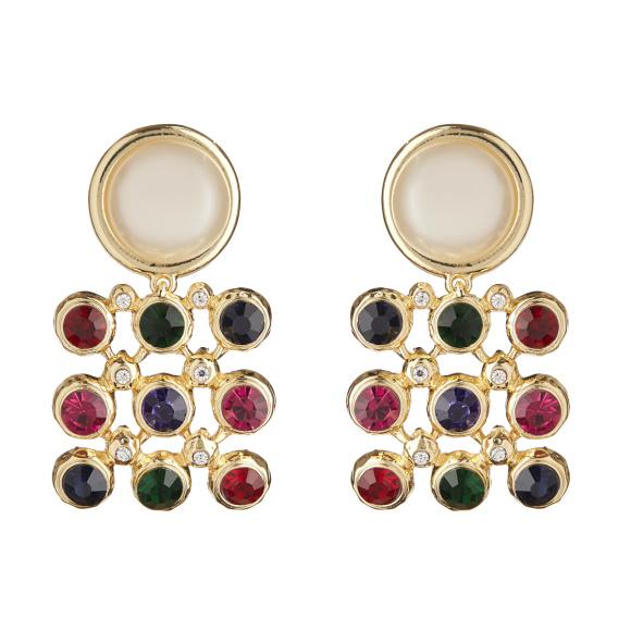 Cercei cu perla si cristale multicolore