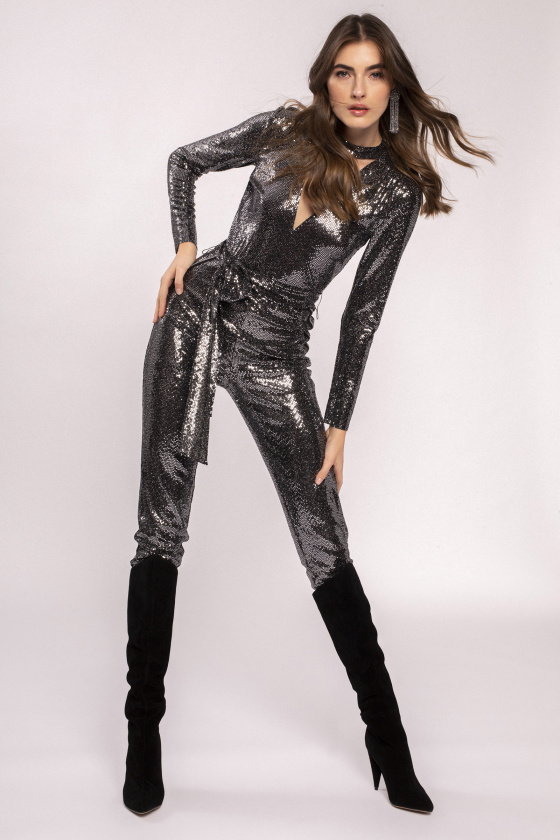 V-neck glitter jumpsuit