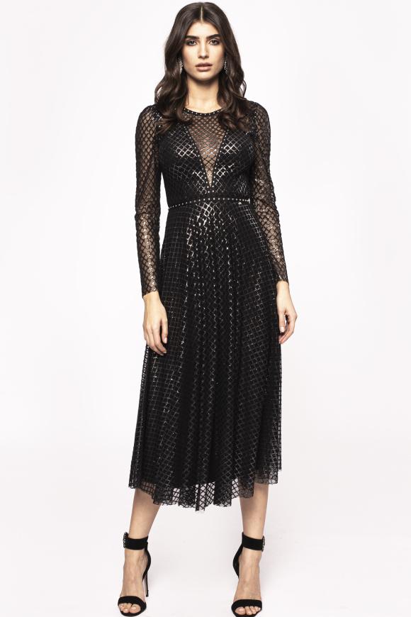 Rochie cu pelicula stralucitoare si detalii transparente