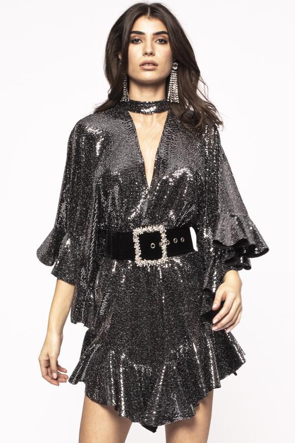 Rochie cu glitter si design asimetric