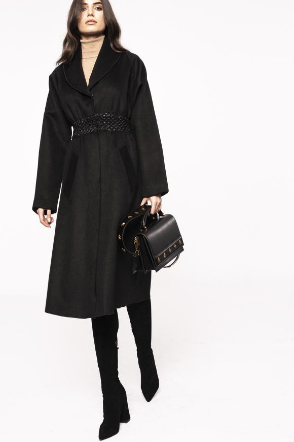 Waist detail wool overcoat
