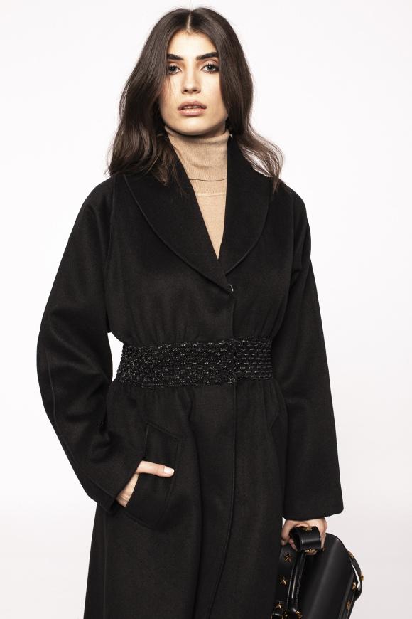 Palton din lana cu detaliu in talie