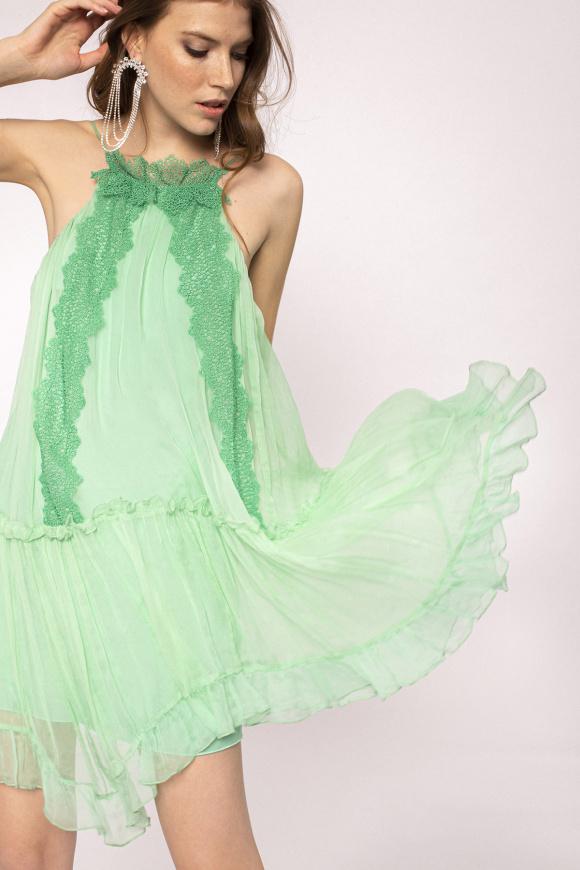 Lace applique silk dress