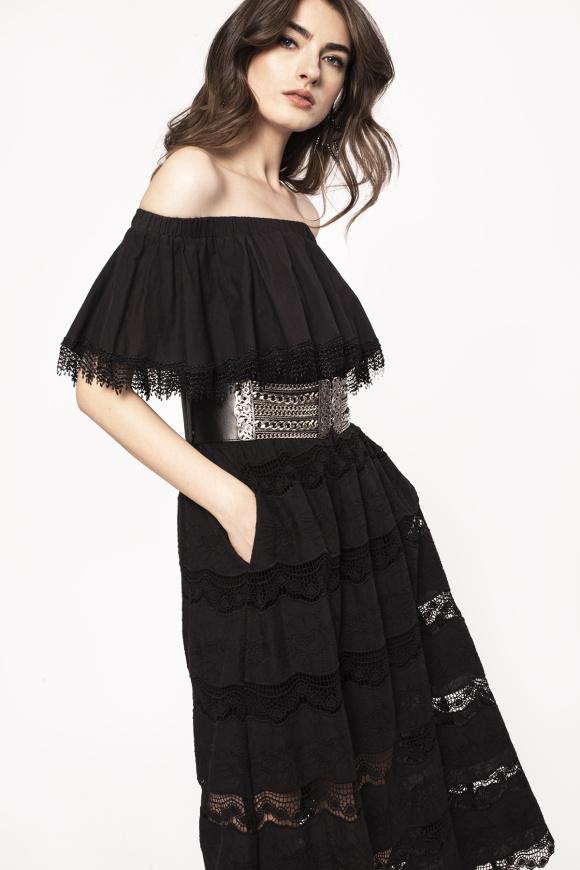 Lace applique cotton dress