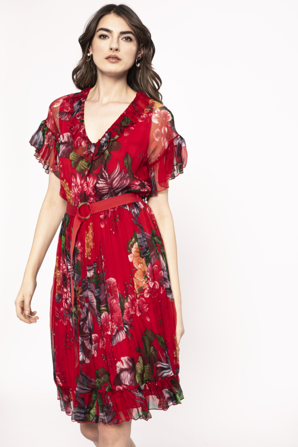 Rochie din matase cu print floral si curea in talie