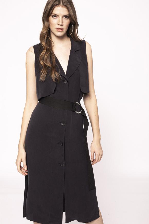 Side slit cupro dress