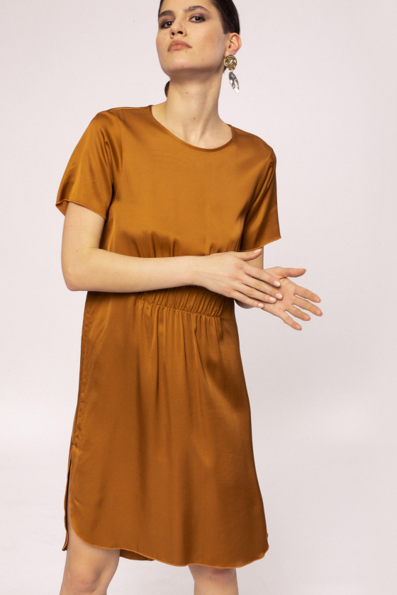Side slit viscose dress