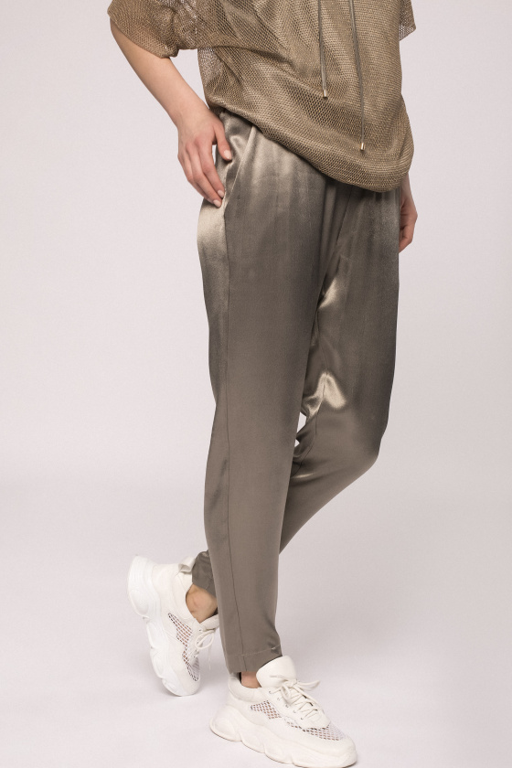Satin effect jogger pants